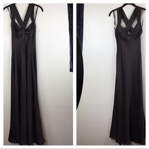 Calvin Klein Satin Evening Gown Brown Dress